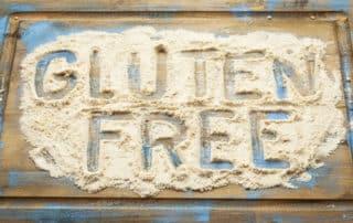 gluten free words written in flour