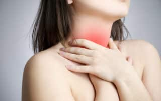 heartburn pain illustrated on a woman's throat