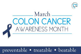 Colon Cancer Awareness Month Sign with Blue Ribbon