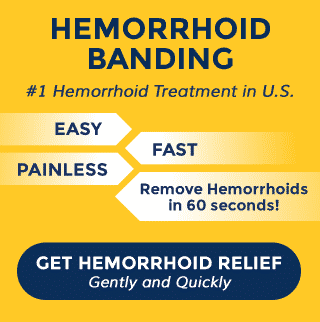 Hemorrhoid Banding treatment infographic that links to a hemorrhoid banding info page